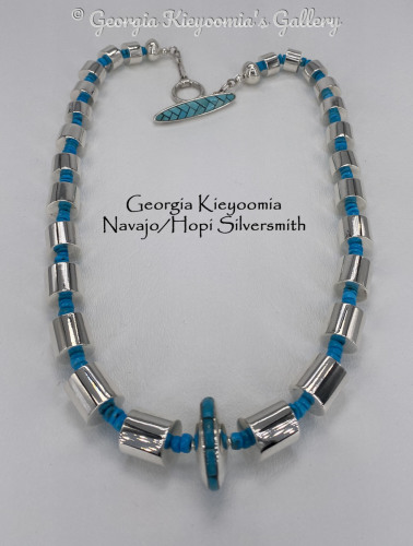Kingman Turquoise Beads w/ Sterling Silver Cylinder Beads