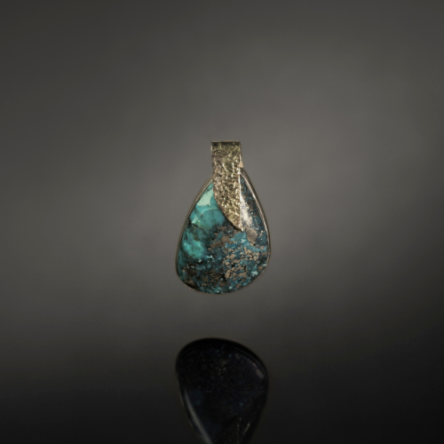 Turquoise in Sterling with 14k gold bail pendant