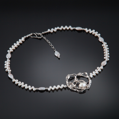 Sterling/Fine Silver Fused Pendant with Freshwater Pearls
