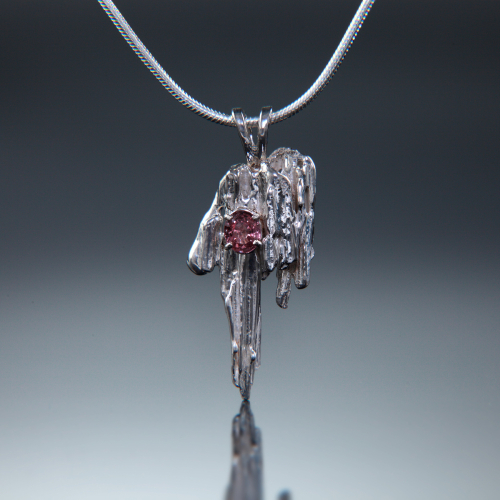 Sterling Broomstick Casted Pendant with Pink Tourmaline