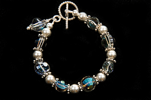 "Vintage Swarovski ""Starlight"" Crystal Bracelet with Sterling Beads"