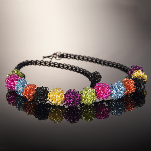 Multi- Colored Wire Bead Necklace