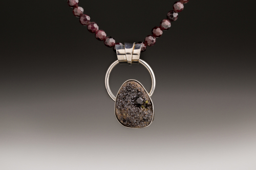 Garnet Druzy Pendant with Garnet Bead Necklace