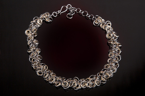 Sterling and goldfilled Oxidized Chainmaille Necklace