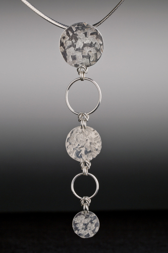 Textured Sterling Disc and Wire Pendant by Meridith Merwald-Gofta
