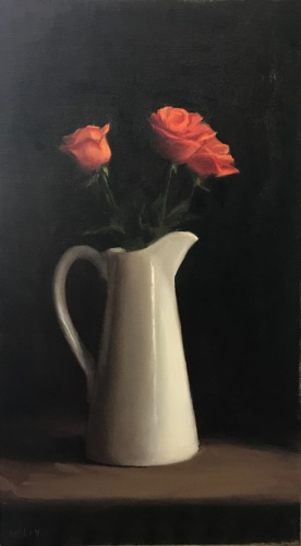 Roses in a White Pot