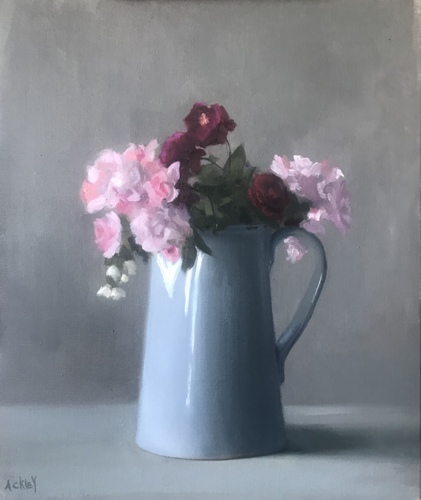 Roses in a Blue Pitcher