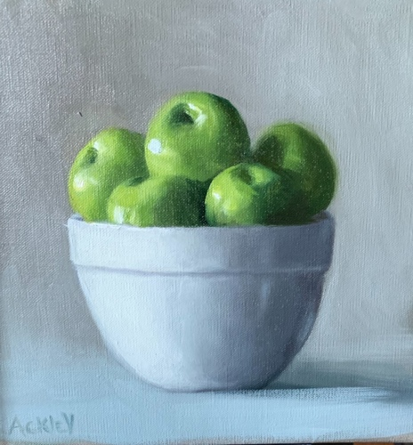 Green Apples in a White Bowl