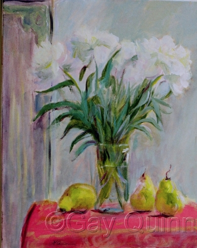 Pears and White Flowers