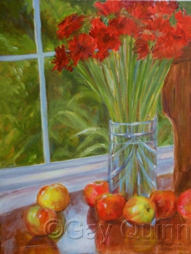 Red Flowers and Apples