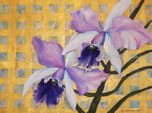 Purple Orchids On Gold Background by Sharon Nelson-Bianco