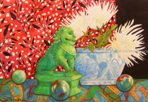 Foo Dog With Mums by Sharon Nelson-Bianco