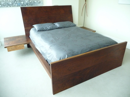 Solid walnut and spalted maple platform bed