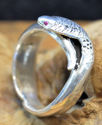 Sterling Silver Cobra Ring w/Ruby Eyes (thumbnail)
