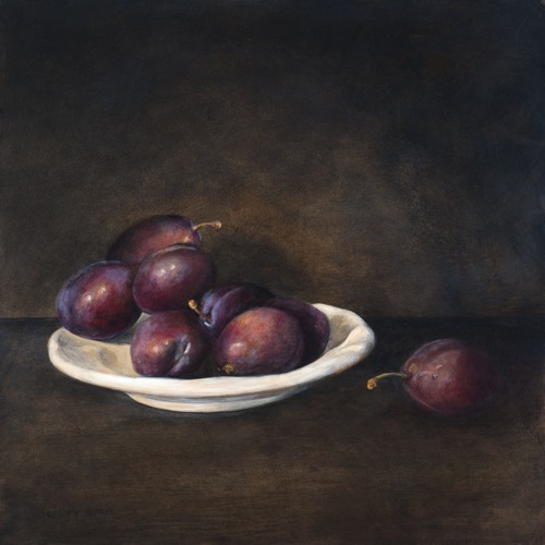 White Plate with Italian Plums by Gregory Karas