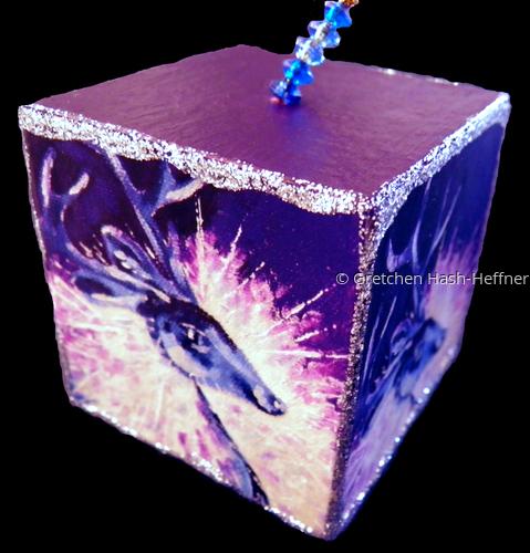 """""""Christmas Dazzle"""" silver ornament cube"""