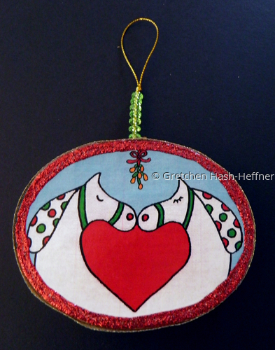 """Love and Peace"" red ornament"