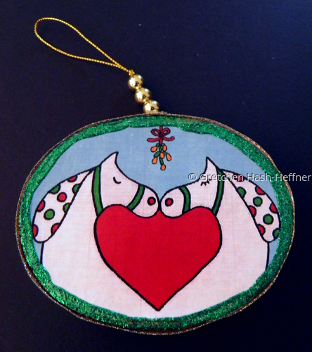 """Love and Peace"" green ornament"