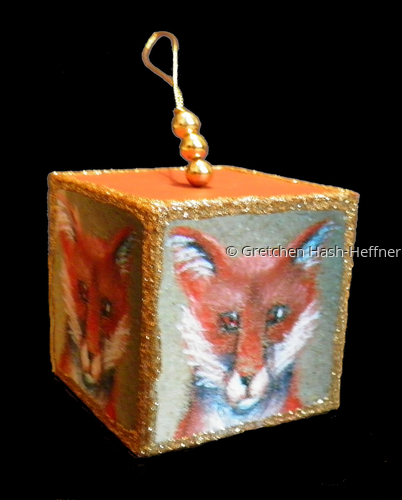 Fox ornament - cube