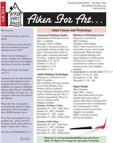 Fall 2014 - Adult Classes & Workshops