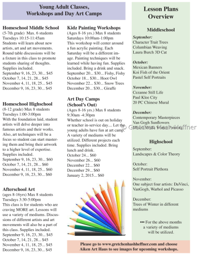 Fall 2014 - Young Adult Classes & Workshops