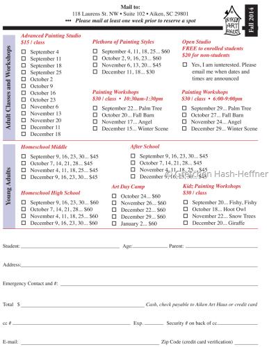 Fall 2014 Registration Form