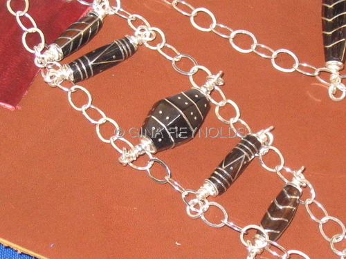 Silver Inlaid Wood Beads & Sterling Bracelet