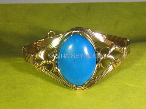 Wire Sculpted Gemstone Bangle