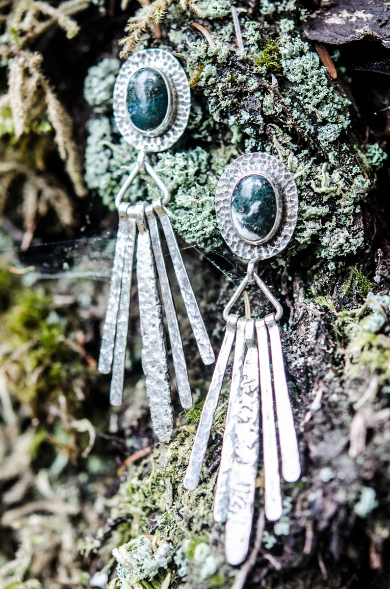 Moss Agate Post Earrings (large view)