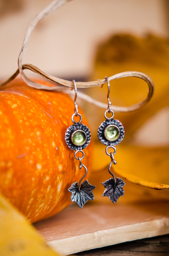 Peridot Pumpkin Leaf Earrings