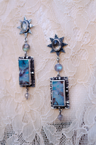 Australian Boulder Opal and Moss Aquamarine Earrings with Labradorite Beads in Sterling Silver