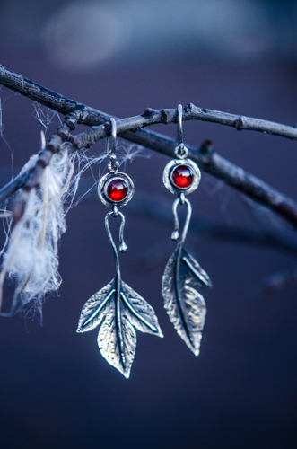 Sassafras Leaf Earrings with Garnets in Sterling Silver
