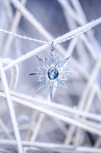 Aquamarine Snowflake Necklace