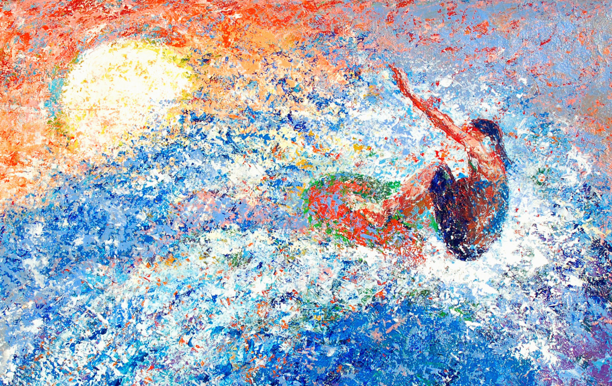 painting of a surfer (large view)