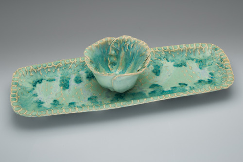 Seafoam tray with buttercup bowl