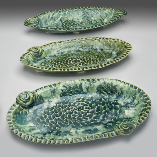 Green Oval Trays