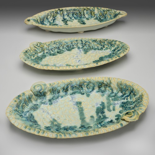 Seafoam Oval Trays