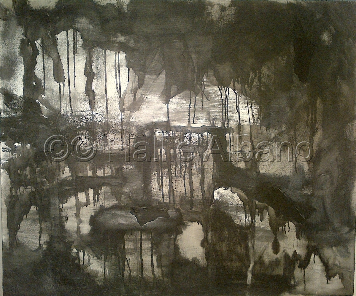 ink wash painting,painting of dark landscape,landscape painting,balck and white painting (large view)