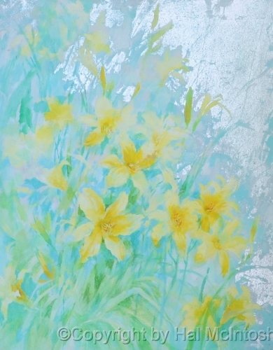 DAY LILIES WITH SILVERLEAF