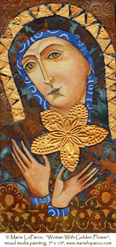 Woman With Golden Flower