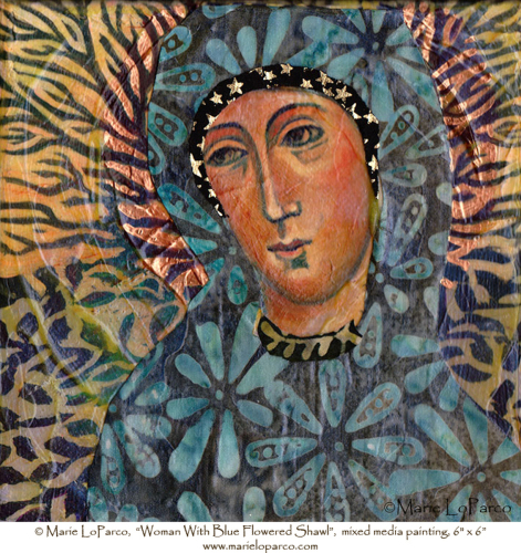 Woman With Blue Flowered Shawl