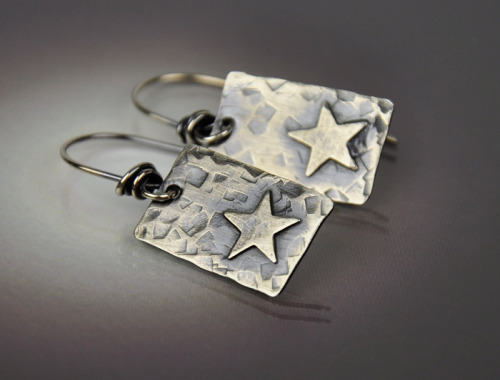 Rectangular Layered Little Star Earring ~ Sterling