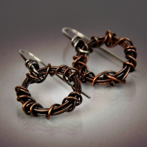 Small Wound Copper Earring