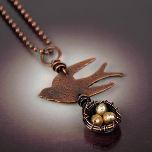 Bird & Nest Necklace