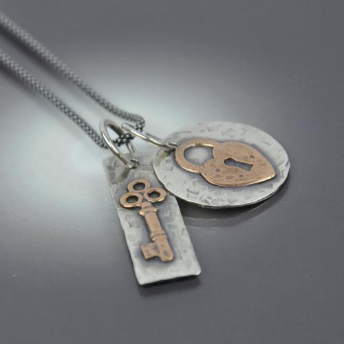 Floating Lock & Key Necklace