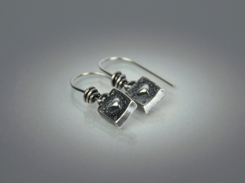 Square Heart Earrings ~ Sterling