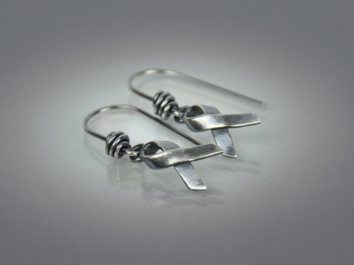 Hope Ribbon Earrings ~ Sterling Silver