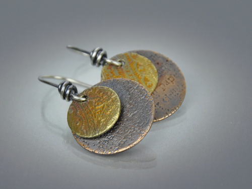2-Tone Etched Disc Earrings ~ Mixed Metal