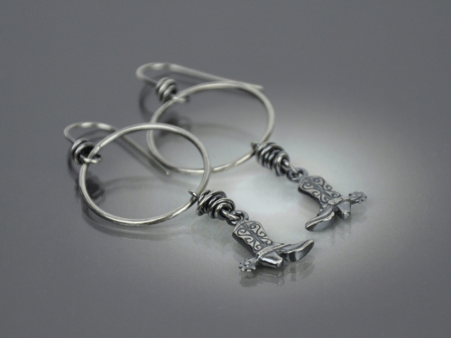 Funky Cowboy Boot Hoop Earrings
