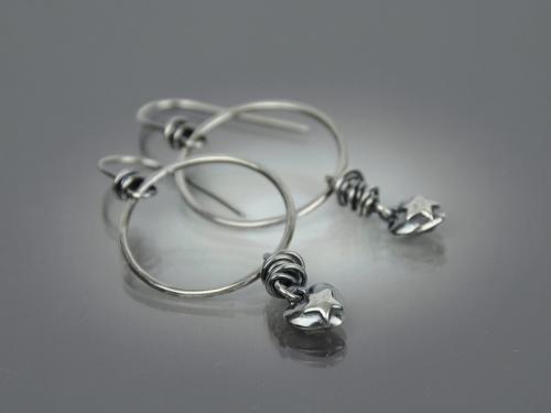 Star In Heart Hoop Earrings